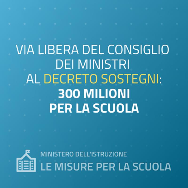 illustrazione in cui si comunica che il consiglio dei ministri ha stanziato 300 milioni per la scuola con il decreto sostegni